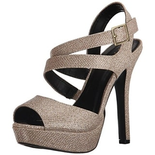 Qupid Womens Gaze Peep-Toe Platform Dress Sandals