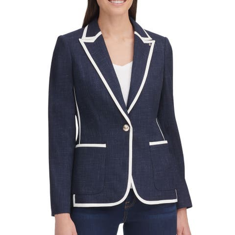 Tommy Hilfiger Womens Jacket Blue Size 4 Ba Contrast-Trim 1-Buttoon