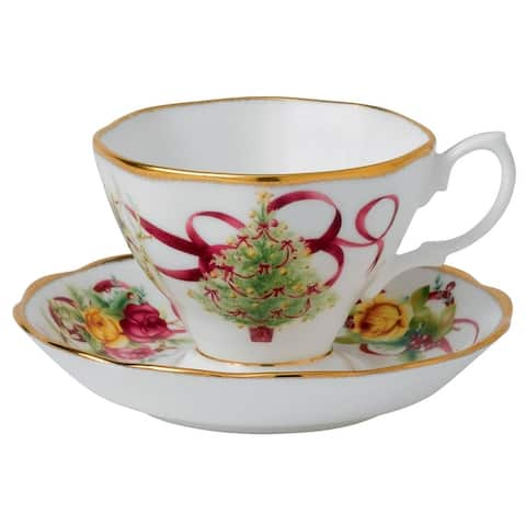 Old Country Roses Christmas Tree Teacup & Saucer Set