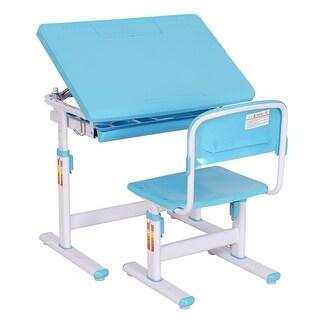 Costway Children Desk & Chair Set Height Adjustable Student Study Kids Work Station Blue