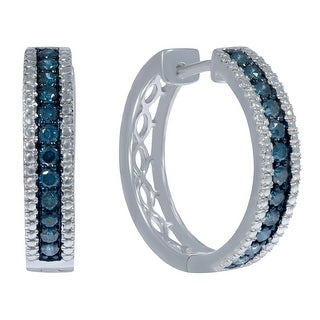 Prism Jewel 0.75Ct Round Blue Color Diamond with Diamond Effect Hoop Earrings
