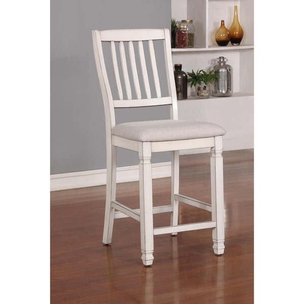 Furniture of America Keer Country White Fabric Counter Chairs (Set of 2). Opens flyout.