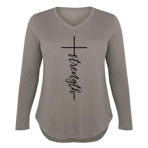 Strength Cross - Ladies Plus V-Neck Long Sleeve Tee - STONE