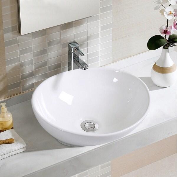 Shop Costway Oval Bathroom Basin Ceramic Vessel Sink Bowl