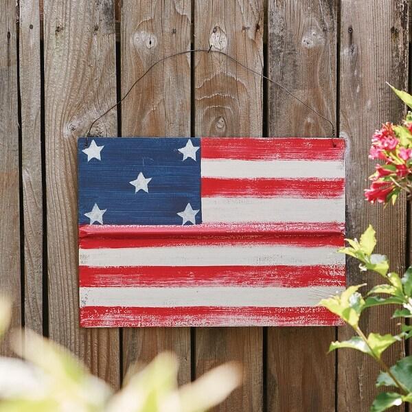Folk Art American Flag Oudoor Steel Hanging Decor