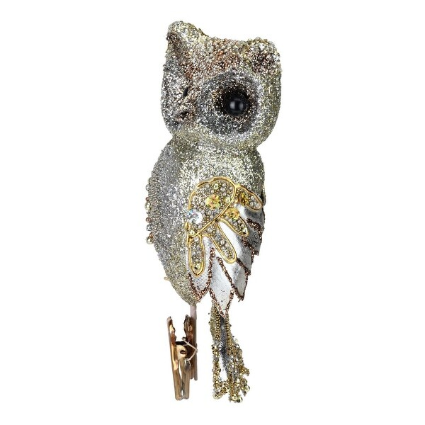 "10"" In the Birches Gold Glittered and Sequined Owl Clip-On Christmas Ornament"