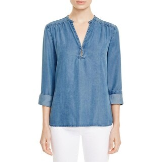 Paige Womens Guianna Blouse Chambray Gathered