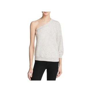 Splendid Womens Sweatshirt Heathered One Shoulder