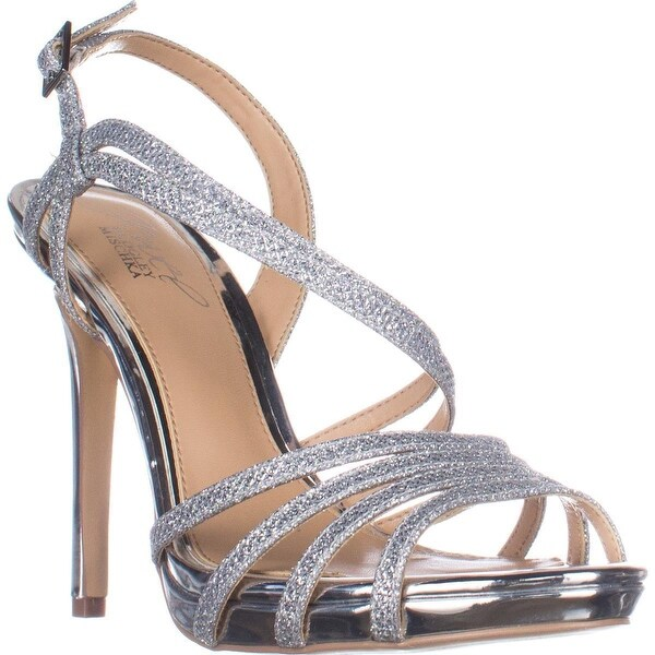 Jewel Badgley Mischka Humble Dress Sandals, Silver Glitter