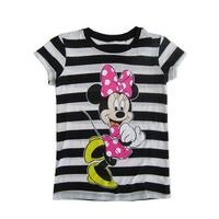 Disney Little Girls Black White Stripe Minnie Mouse Print T-Shirt