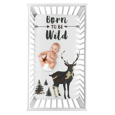 Woodland Camo Deer Collection Boy Photo Op Fitted Crib Sheet - Beige, Green and Black Rustic Forest Animal Camoflauge