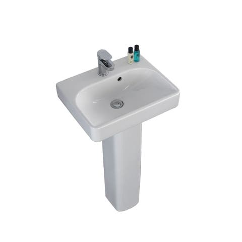 "Bissonnet 120545-E54920 Smyle 18"" Rectangular Vitreous China Pedestal Bathroom Sink with Overflow and One Faucet Hole - White"