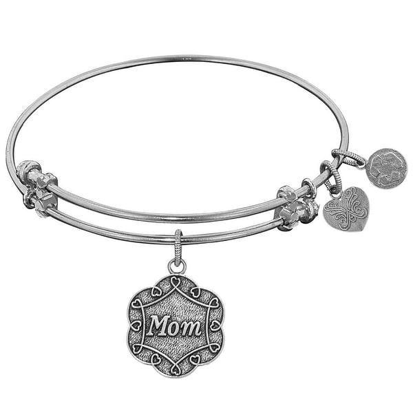 "Angelica Collection White Stipple Finish Brass ""mom"" On 7-leaf Flower Like Charm Expandable Bangle"