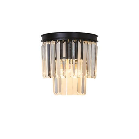 Giselle Glam 3-Light Crystal Wall Sconce in Black, 11 inches