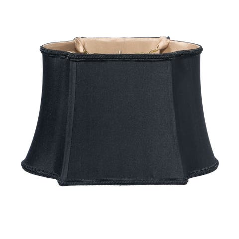 Cloth & Wire Slant Fancy Oblong Softback Lampshade with Washer Fitter, Black (with Bronze Lining)