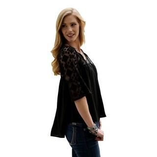 Cruel Girl Western Shirt Womens 3/4 Sleeve Chiffon Black CTW7088001
