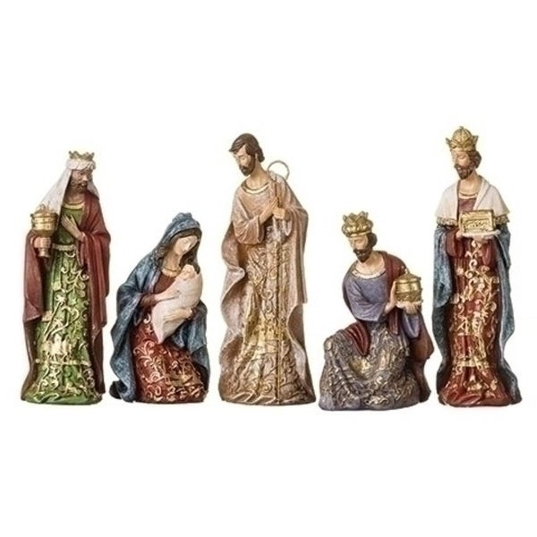 5-Piece Gold Leaf Christmas Nativity Figures with Papercut Design 8""