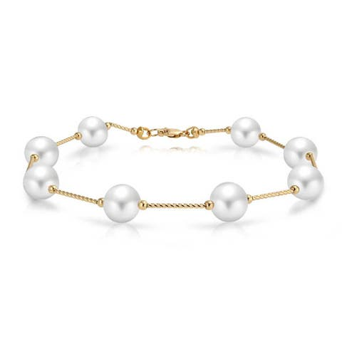 14K Real Yellow Gold Bar Link Tin Cup White Freshwater Cultured Pearl 7.5mm Bracelet For Women