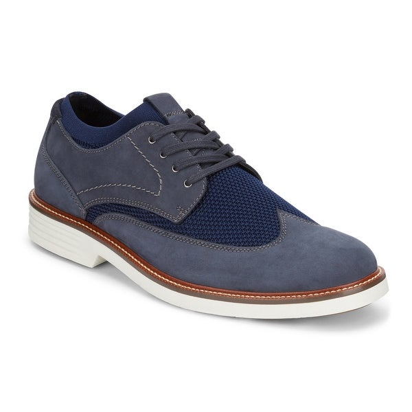 Dockers Mens Paigeland Knit/Leather Dress Casual Wingtip Oxford Shoe with NeverWet
