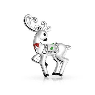 Bling Jewelry Enamel Christmas Reindeer Crystal Pin Brooch Silver Plated