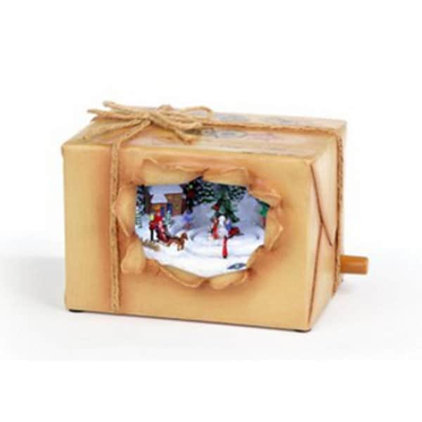 Pack of 2 Icy Crystal Animated Musical Peeking Christmas Package Figurines 4""