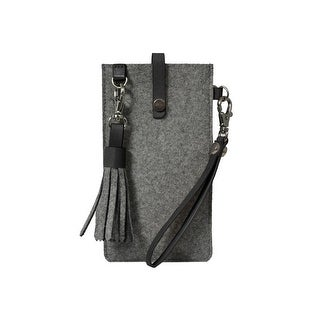 Sherpani Phone Case Womens Leather Accents Wool Raw Edge