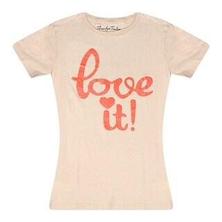 Three For Twelve Love It Graphic Design Print Front Junior Casual Beige T-shirt