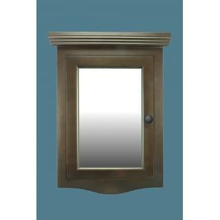 corner medicine cabinet dark brown oak hardwood wall mount recessed mirror