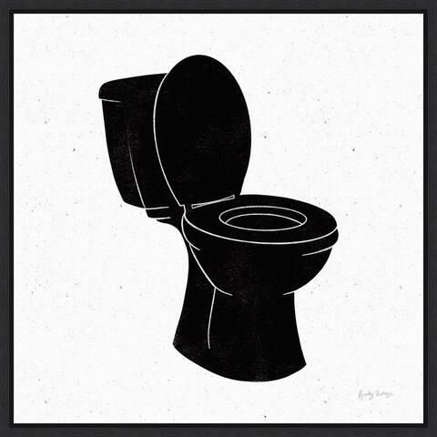Bathroom III Black by Becky Thorns Framed Canvas Art