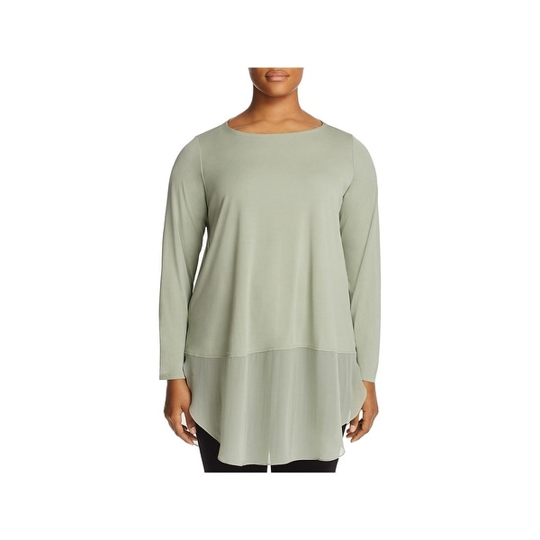 48471d0a42 Shop Eileen Fisher Womens Plus Tunic Top Silk Bateau Neck - Free ...