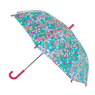 CTM® Girls' Butterfly and Bee Print Hook Handle Umbrella - One size