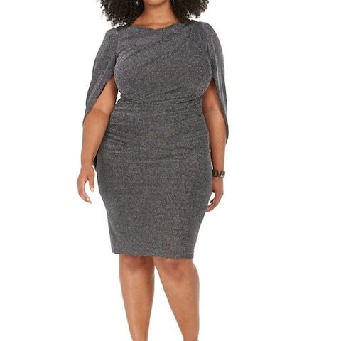 Betsy & Adam Women's Dress Silver Size 20W Plus Sheath Sparkle Drape