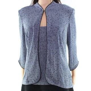 Marina NEW Gray Gunmetal Women's XL Glitter Tank-Top Twinset Sweater