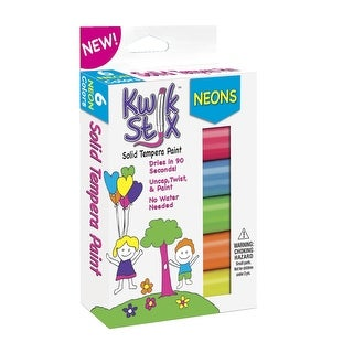 The Pencil Grip Kwik Stix Solid Tempera Paint, Assorted Neon Colors, Set of 6