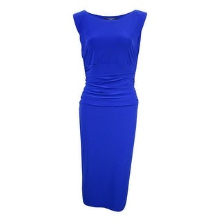 Nine West Women's Cap-Sleeve Ruched Sheath Dress - Regal Blue
