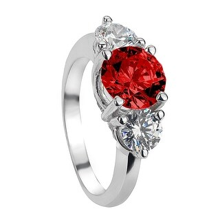 ARUSHA Vintage Three Stone Ruby & White Sapphire Engagement Ring - Red (Option: 6.5)