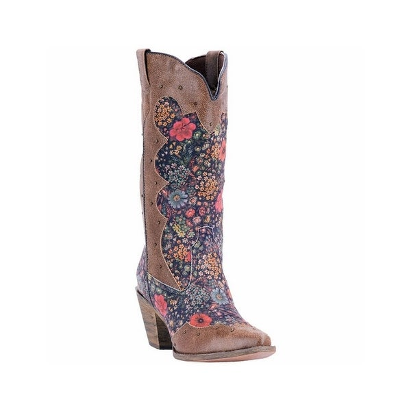 Laredo Western Boots Womens Gloria Flower Snip Toe Fashion Tan 52127