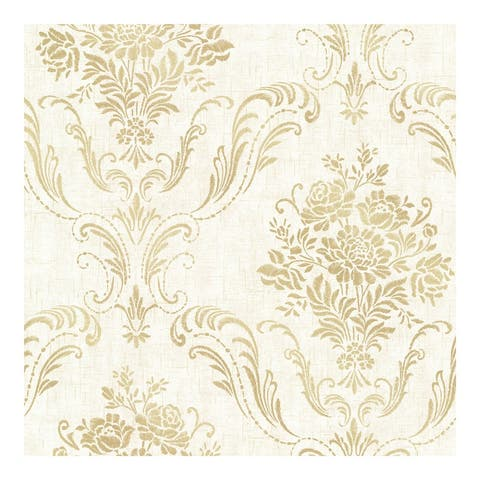 Manor Cream Floral Damask Wallpaper - 20.5in x 396in x 0.025in