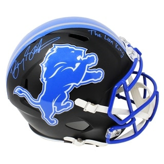 Barry Sanders Detroit Lions Flat Black Matte Riddell Speed Full Size Replica Helmet WThe Lion King