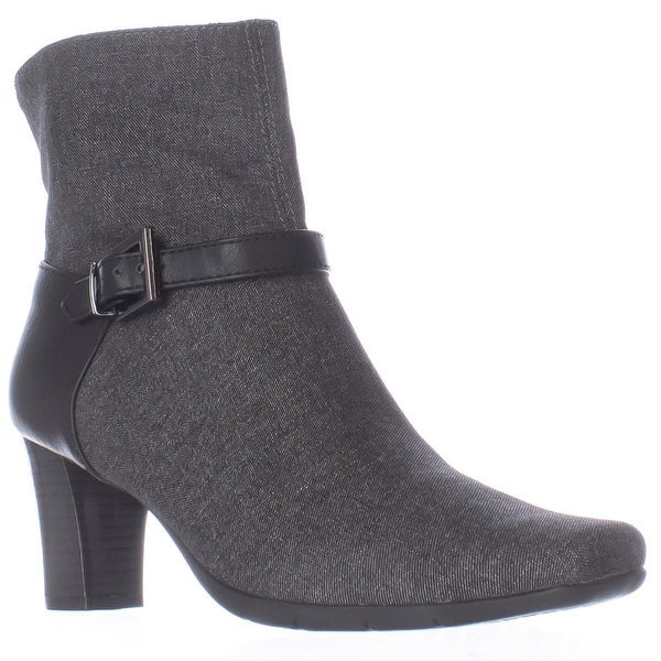 Aerosoles Harmonica Square Toe Ankle Strap Boots, Grey Wool