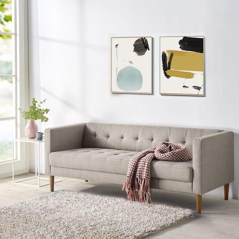Carson Carrington Hjerpesbo Oatmeal Grey Semi-firm Button-tufted Sofa