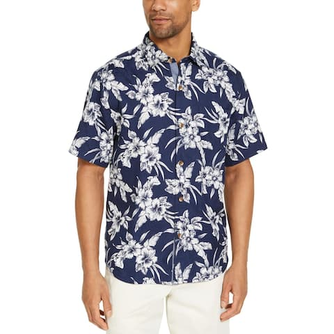 Tommy Bahama Mens Casual Shirt Floral Print Collared