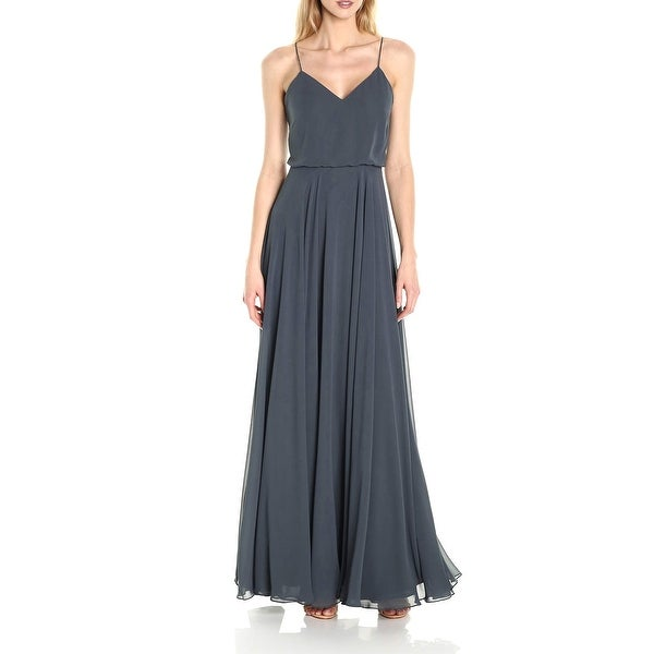2c47e492f6c Shop Jenny Yoo Storm Gray Women s Size 16 Inesse V-Neck Chiffon Gown - Free  Shipping Today - Overstock - 27885348