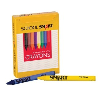 School Smart Non-Toxic Regular Crayon in Tuck Box, 5/16 X 3-1/2 in, Assorted Color, Pack of 16