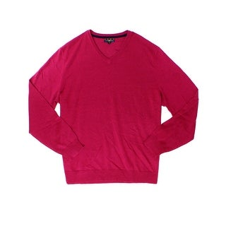Club Room NEW Berry Pink Mens Size Large L V-Neck Wool Knit Sweater