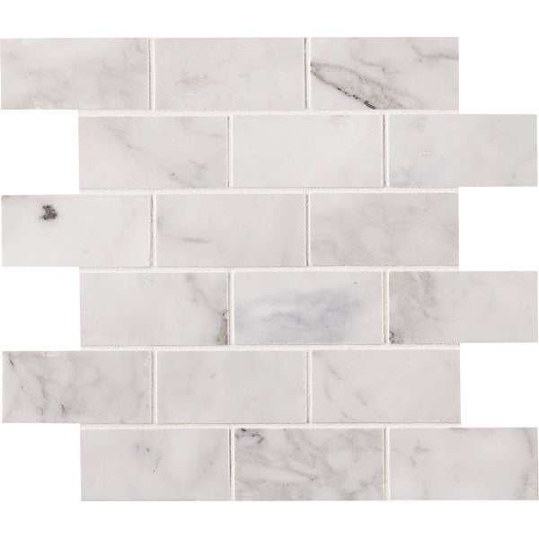 "MSI SMOT-CAL-2X4H Calacatta Cressa - 2"" x 4"" Brick Joint Mosaic Tile - Honed Marble Visual - Sold by Carton (9.8 SF/Carton)"