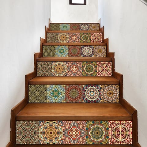 Walplus Arabic Colourful Tiles Stairs Decals Wall Stickers Home Decor