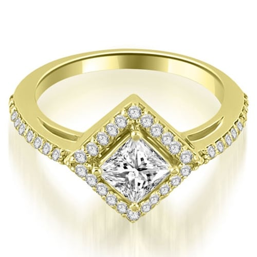 0.90 cttw. 14K Yellow Gold Halo Princess Cut Diamond Engagement Ring