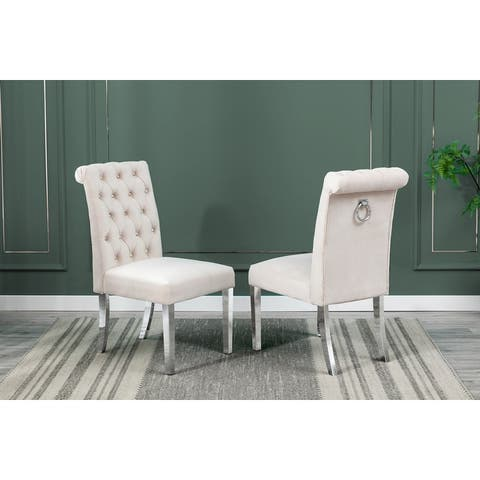Best Quality Furniture Dining Chairs with Tufted, Hanging Ring (Set of 2)