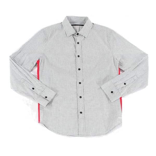 b10f55d843 Sean John NEW Gray Red Mens Size XL Micro-Check Button Down Shirt ...